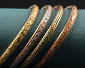 Antique classic pattern hand forged copper bangle bracelet