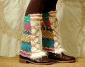 Upcycled faux fur mukluk Legwarmers - Womens hippie leg warmers - Repurposed women sweater boot covers