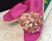 Pink canvas slide sandals with rope soles ready to embellish paint or decorate. Old stock canvas shoes  - very comfortable -  size 7