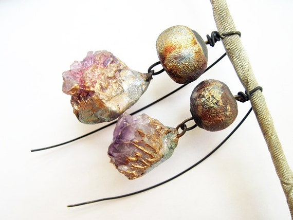 I Seem to Myself Like Someone's Dream. Cosmic Rustic earrings with rough amethyst and raku.
