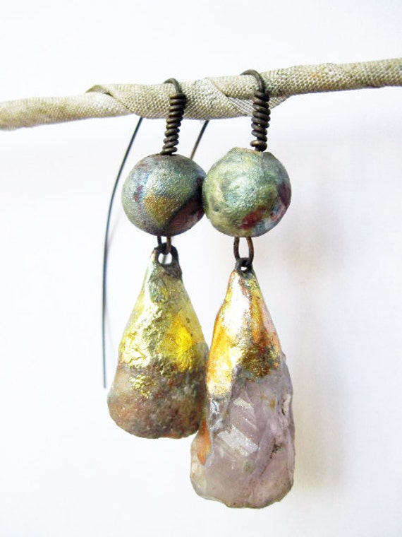 The You Which is Me. Cosmic rustic asymmetrical earrings with rough amethyst, druzy geode and raku.