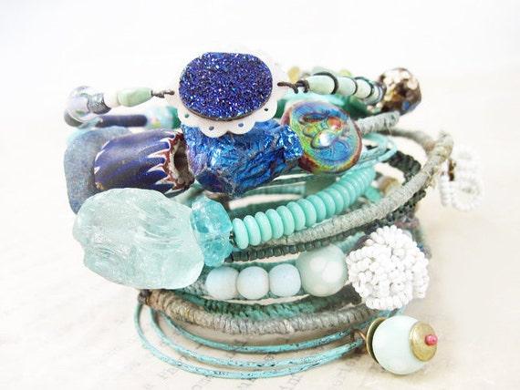 Liquid Light. Blue Green Rustic Gypsy Bangle Stack, bracelet set.