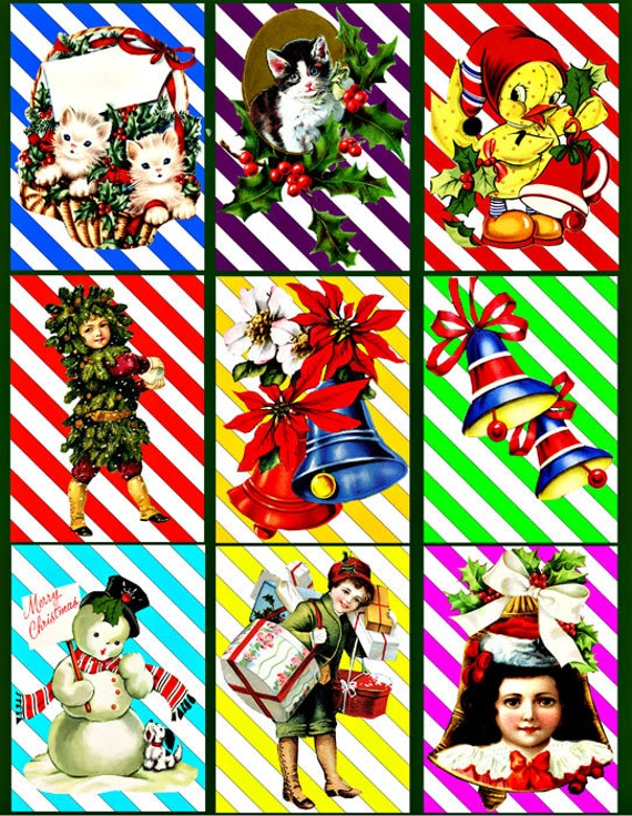 christmas candy cane stripes animals Printable Digital Collage Sheet 2.5x3.5 inch children image graphics download Gift Tags Cards  Crafts