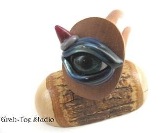 Cherry  Wood Avalon Tusk Glass Dragon Eye 3 Prong Hair forks Grahtoe studio