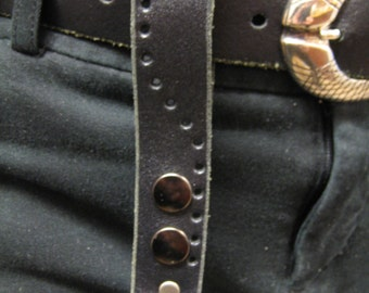 Steampunk Leather keychain utility loop with punched hole pattern