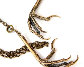 Bird Claw Lariat Necklace in Solid Bronze Bird Feet Bird Claw Jewelry 056