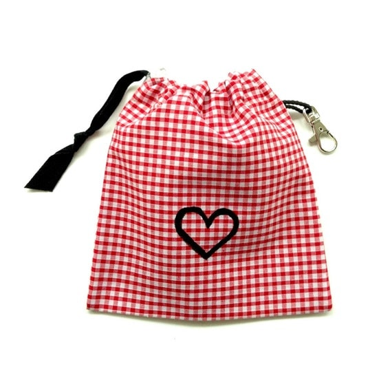 SALE - Red Gingham Heart Dog Tidy Pouch