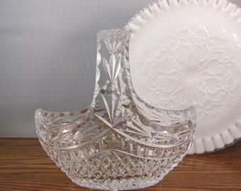 Vintage Galway Irish Crystal Glass Basket Crystal Easter Basket Made in Ireland