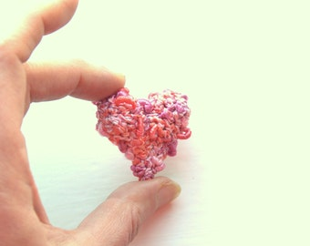 Crochet pink Valentine hearts small Weddings favor engagment hearts home decor love handmade gift for her Weddings favor Birthday party