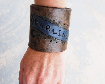 "Tooled Leather Cuff Bracelet - ""Darling"" Banner in Rustic Black Leather -  Custom Made to Order"