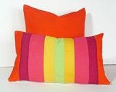 Color Block Pillows, Bright Striped Pillow, 14x20, Unique, Eclectic, Orange Pink, Color Band, Girls Cushion Cover, Oblong, Pillow SALE