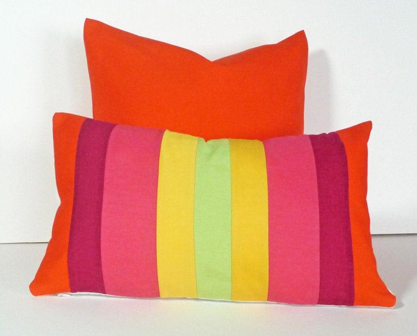 Color Block Pillows Bright Striped Pillow By Pillowthrowdecor