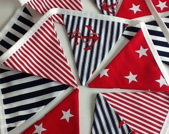 Nautical Bunting / Garland -  Boys bedroom, Party Bunting, Pennants, Small Flags