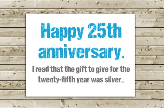 Return Gifts For 25th Wedding Anniversary: Items Similar To Funny 25th Anniversary Greeting Card