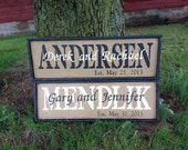 PRiMiTivE Family Name Sign - Personalized with Last Name, First Names and Wedding Date
