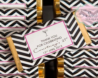 Black and White CHEVRON 21st Birthday Party Printable Candy Bar Wrappers