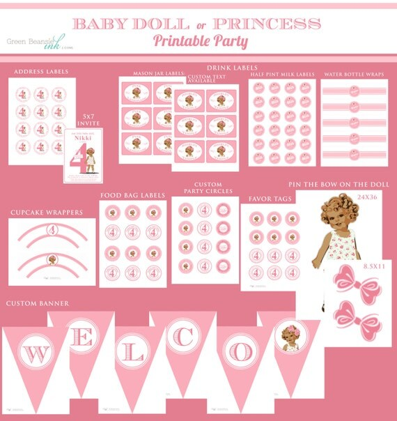 BABYDOLL or PRINCESS Printable Party Decor Package