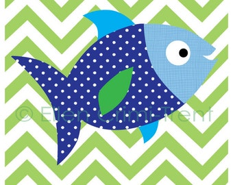 Kids Wall Art- Chevron fish print- nursery decor