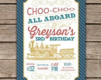 Vintage Train - Custom DIGITAL Birthday Party Invitation Invite for any age
