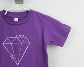 toddler tshirt diamond organic cotton screen printed 2T 4T 6T purple with white ink