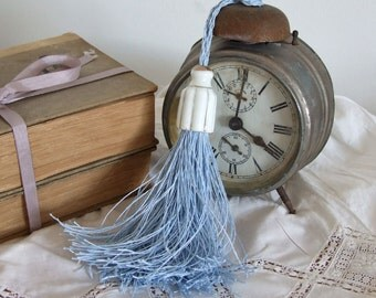 Powder blue linen twine TASSEL with vintage PORCELAIN top