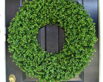 30 INCH Boxwood Wedding Wreath, Living Room Decor, Wall Decor, Artificial Boxwood Wreath, Year Round Wreath, Weddin