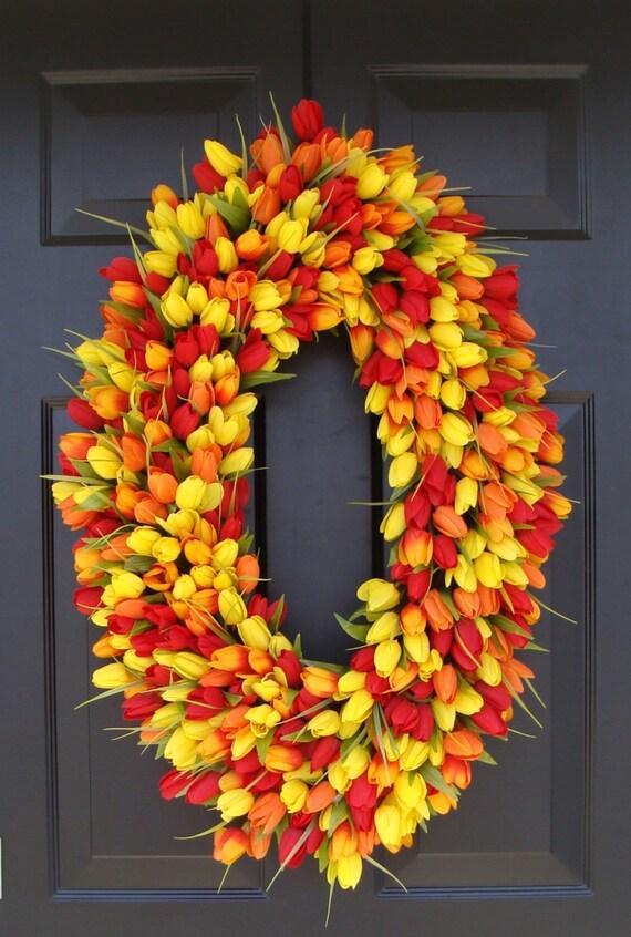 28 inch Spring Wreath- Door Wreath- Mother's Day Wreath- Spring Decor-Wedding wreath- Oval Wreath