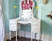 custom order antique vanity shabby chic white distressed cottage make up dressing table vintage chic