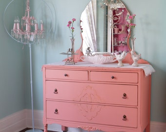 custom order antique dresser shabby chic distressed pink coral salmon cottage prairie vintage