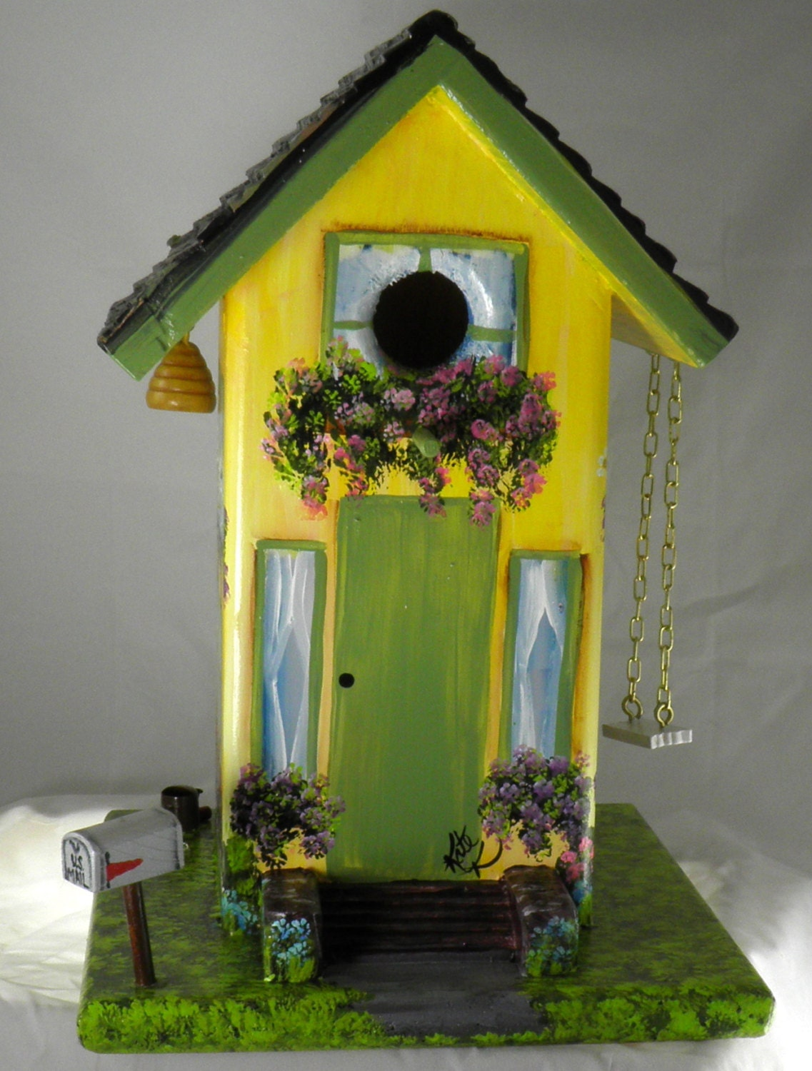 Unique gorgeous birdhouse hand painted yellow and green for Unusual house decorations