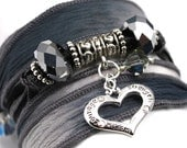 Charcoal to Slate Silk Wrap Bracelet with Courage-Strength-Wisdom Heart Charm - anjalicreations