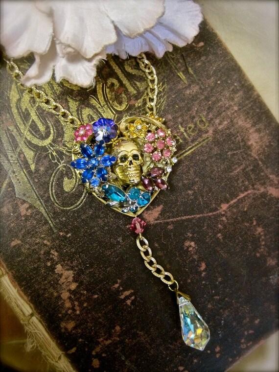 Fiesta de los Muertos: Day of the Dead Rosary Necklace Skull in Rhinestone Floral Heart Vintage Assemblage