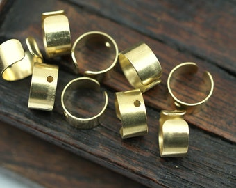 Brass Ear Cuff, 30 Raw Brass Ear Cuffs with One Hole Round, Findings  (9mm) D035