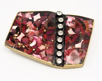Vintage Pink Belt, 1 Vintage Pink Asymmetric Handcraft Belt Buckle (94x69mm) - Made In Germany