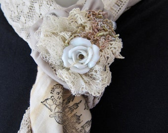 Romantic Shabby Chic Tattered Boho Vintage Lace Scarf Summer Shawl with Removable Flower and Porcelain Rose