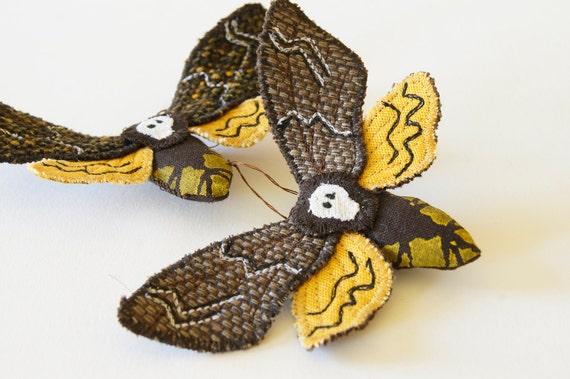 Brooch Soft Sculpture Death's Head Hawk Moth Fiber Insect  Art Sphinx Moth Natural History Halloween