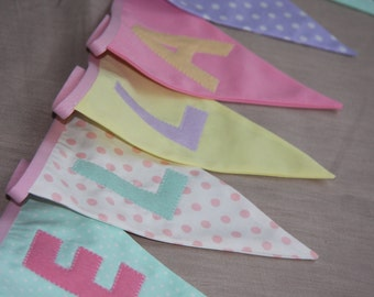 LOVE HEARTS Pastel colours Banner, Wedding Bunting, Birthday Bunting, Baby Shower Bunting, Personalized Banner, Nursey Bunting