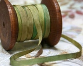 4mm or 7mm Wide Hand Dyed Silk Ribbon for Embroidery and Needlecraft  in RIVERGUM