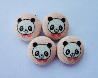 Cute Panda Bear Faces Pink Japanese Cotton Fabric Covered Buttons For Sewing - Set of 4 - 18mm