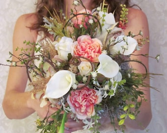 Pink Rustic Wedding Bouquet with Boutonniere, Example Only!! DO NOT PURCHASE