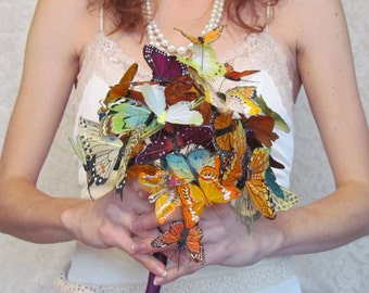 Fall Butterfly Wedding Bouquet, in Oranges, Yellows & Purples... Example Only!! DO NOT PURCHASE