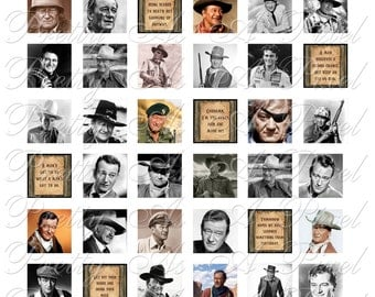 John Wayne - 2 sizes - Inchies AND scrabble size .75 x .83 inch - Digital Collage Sheet - INSTANT DOWNLOAD