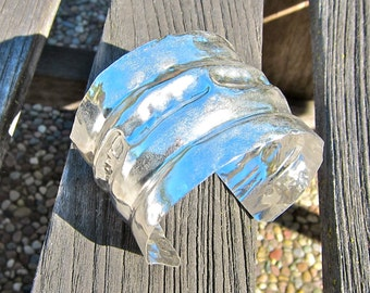 Handforged, Fold Formed, Hammered, Fine Silver Cuff Bracelet, Ready to Ship