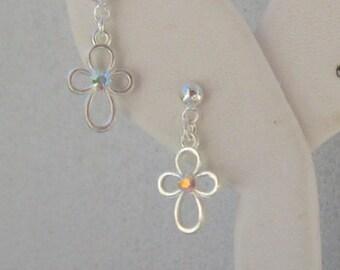 Cross Earrings, First Communion Jewelry, First Communion Earrings, Gift for First Communion Girl, Simple Cross Dangle Earrings