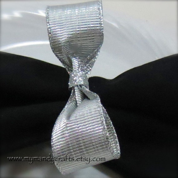 items similar to sparkly silver bow tie napkin ring new