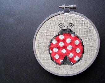Ladybug modern cross stitch pattern
