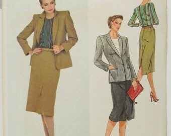 1980s Jacket, Skirt and Blouse Pattern Vogue Paris Original 2405 Christian Dior Front or back slit straight skirt Size 16 Bust 38
