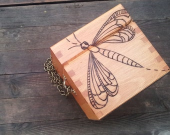 Wooden Box Purse - Small wood burned dragonfly