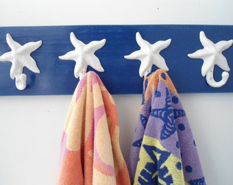 starfish towel hook towel rack coastal decor outdoor shower organizer swimming pool towels hot tub cottage renovation Beach House Dreams OBX