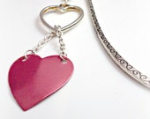 Cute Pink Heart Repurposed Earring Valentine Bookmark With Silver Toned Hook
